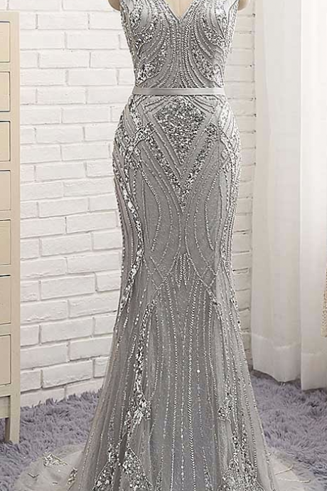 Heart-shaped Open Back Mermaid Evening Dress V-Neck With Full Sequin beaded Count Train Vestido De Fasta Formal Party
