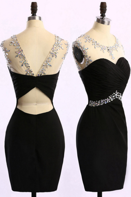 Short Black Prom Dress with Ruching Detail, Sleeveless Beaded Prom Dress, Column Chiffon Fashion Mini Prom Dress