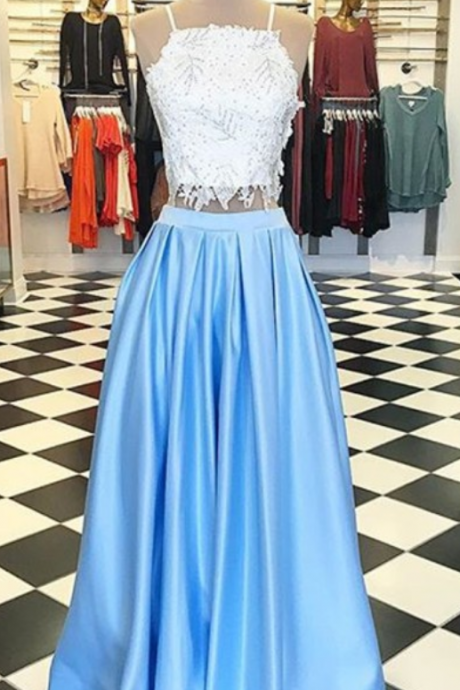 Modern Light Blue Square Floor-Length Two Piece Prom Dress with Beading Lace