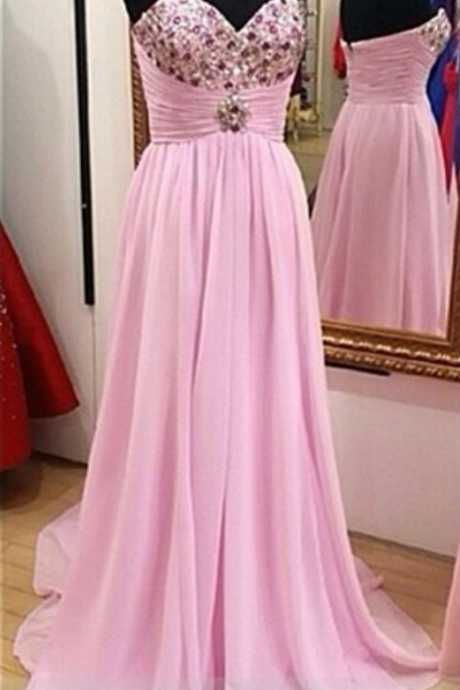 Sweetheart Neck Pink Prom Dress Long Party Gown Sleeveless 2017 Fahsion Modern Style Crystals Bust Elegant Chiffon Dresses
