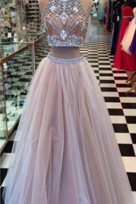 Royal High Neck Evening dresses Long Cheap Backless With Crystal Sequin A line Princess Formal Dresses Prom dress Gowns