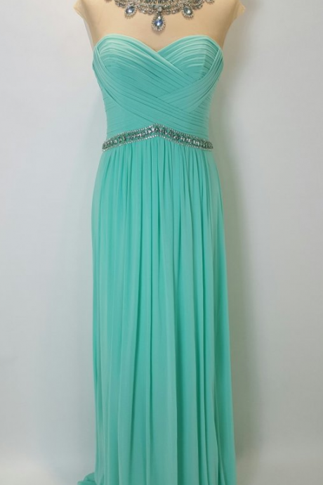 Sparkly Rhinestones Sheer Neckline Prom Dresses 50442 Mint Green Chiffon Empire Waist Hollow Back Pleated Long Evening Formal Dress With Cap Short Sleeves