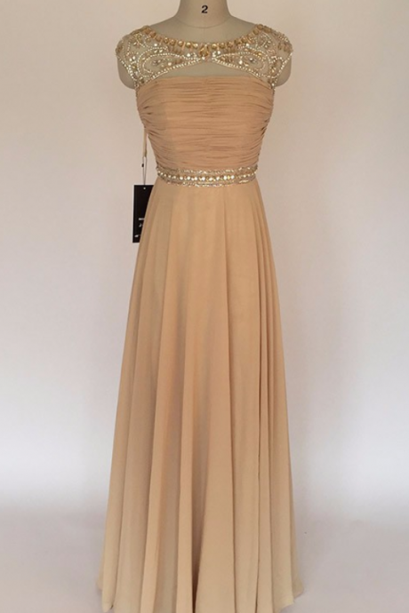 Real Photos Champagne Rhinestones Prom Dresses Fashion Women Long Chiffon Evening Gown