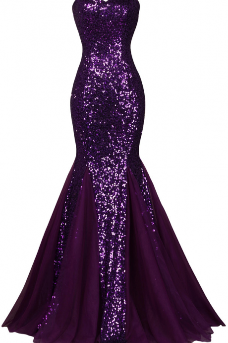 Sequin Long Sparkly Dark Salmon Purple Evening Dress Elegant Formal Dresses Mermaid Evening Gowns High Quality