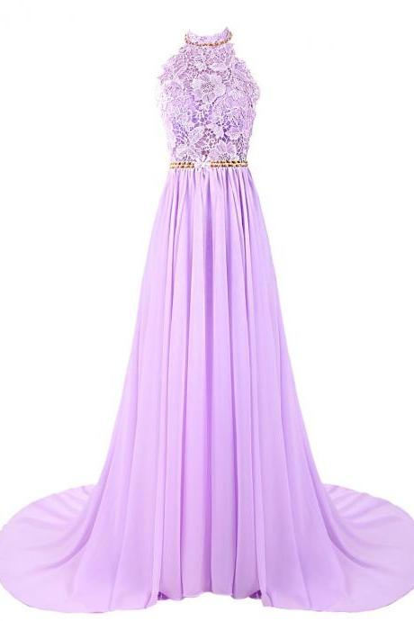 Halter lace chiffon beads waist long evening prom dresses