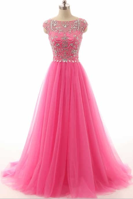coop Neck Cap Sleeves Heavy Beading Cystal Back Zipper A Line Floor Length Prom Dresses