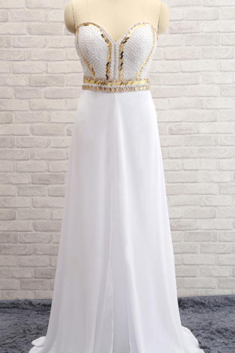 A Line Sweetheart Neck Beading Bodice White Chiffon Skirt Floor Length Party Dresses