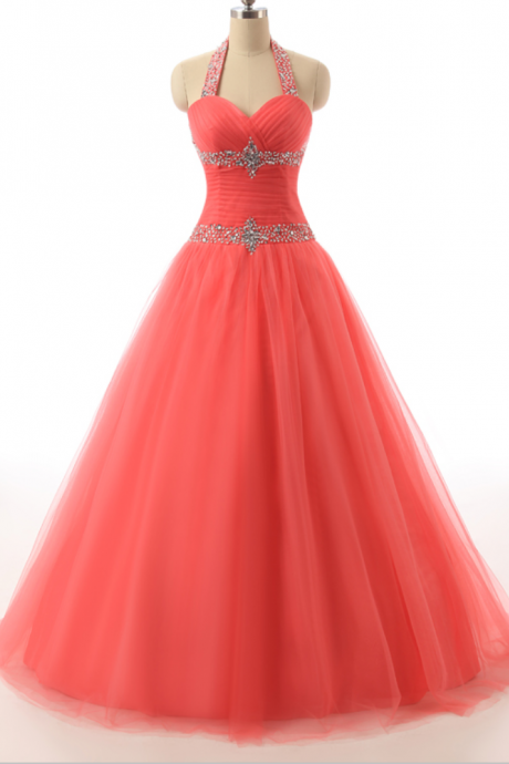 Halter Neck Surplice Pleated Bodice Lace up Back Beaded Accent at Waist Tulle Overlay Skirt Party Dresses