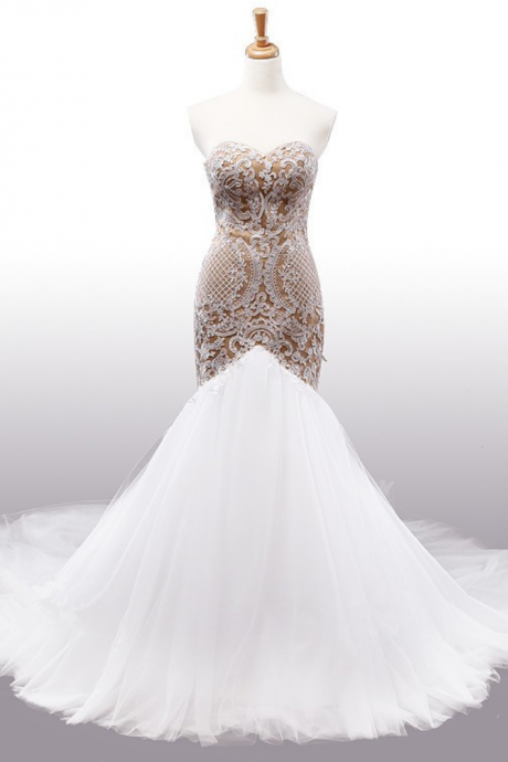 Strapless Sweetheart Lace Mermaid Wedding Dress With Champagne Gold Appliqués and Long Train