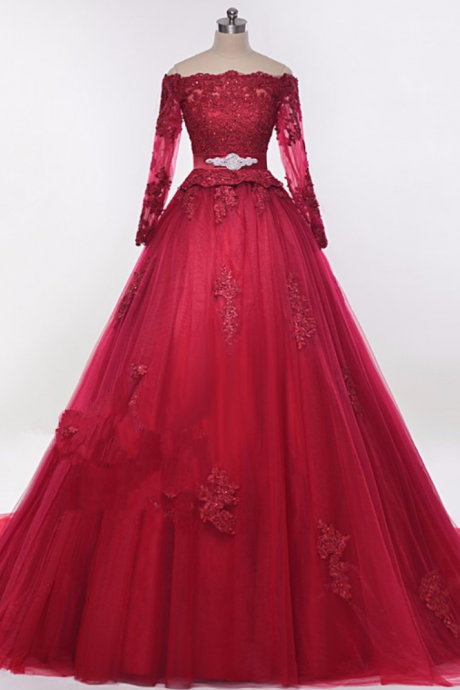 Puffy Burgundy Arab Wedding Dress Elegant e Lace Hochzeitskleider Floor Length High Quality Tulle Robe De Mariage