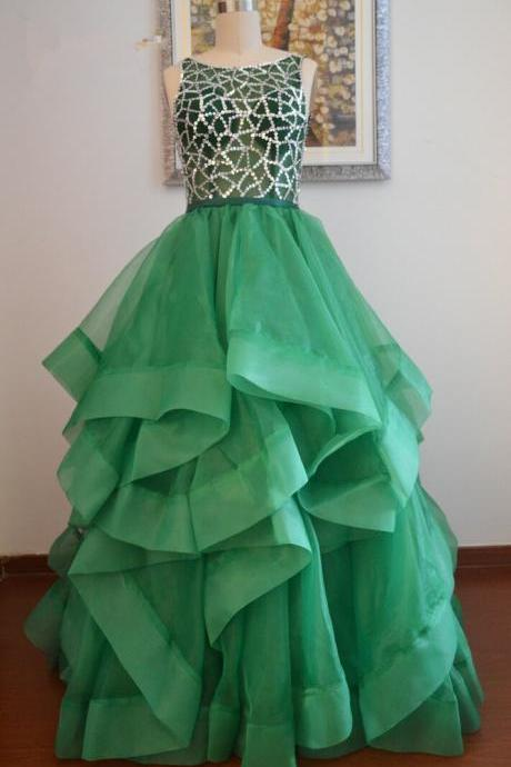parkling Sequins Ruffles Ball Gown Prom Dresses Real Photos Sleeveless Backless Formal Evening Party Gowns