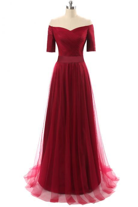 Burgundy Short Sleeves A Line Tulle Evening Dresses Women Party Special Occasion Dresses