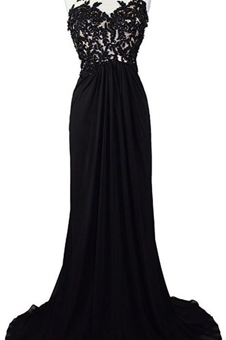 Women's High Neck Lace Sheer Top Prom Pageant Formal Dress