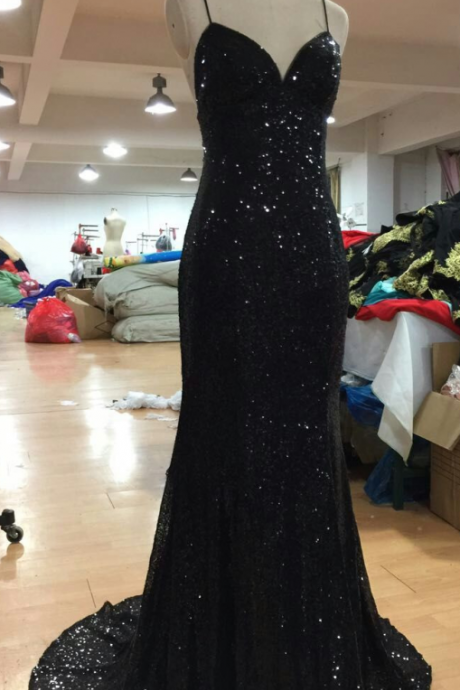 Sexy Prom Dresses with V Neckline Criss-Cross Backless Bling Bling Mermaid Prom Dress 2017 black Sequins Evening Dresses