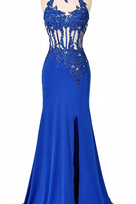 Long Mermaid Lace Evening Party Gowns Side Split Beaded Prom Formal Dresses
