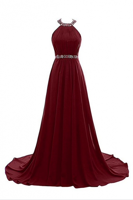 Women's Halter Beaded Evening Party Gowns Sequins Formal Prom Bridesmaid Dresses Long