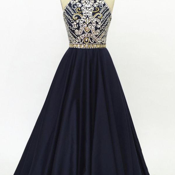 The satin ball gown of dark blue dress custom-made for the back of the back party formal evening dress evening gown