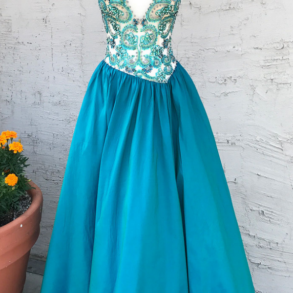Charming V Neck Beaded Long Evening Dress, Sexy Sleeveless Prom Dresses