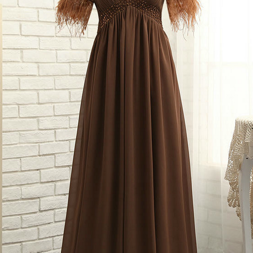 Cheap Brown Mother Of The Bride Dresses A-line V-neck Chiffon