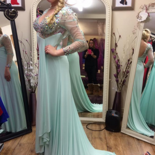 Cheap prom dresses ,Open Back Mermaid Chiffon Prom Dresses Long Sleeves , evening dresses