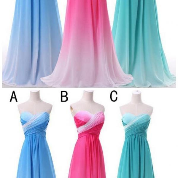 Sweetheart Gradient Chiffon Cheap Evening Party Long Bridesmaid Prom Dress