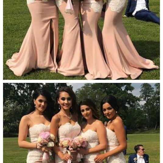 Spaghetti Strap Lace Top Mermaid Long Wedding Party Bridesmaid Dresses