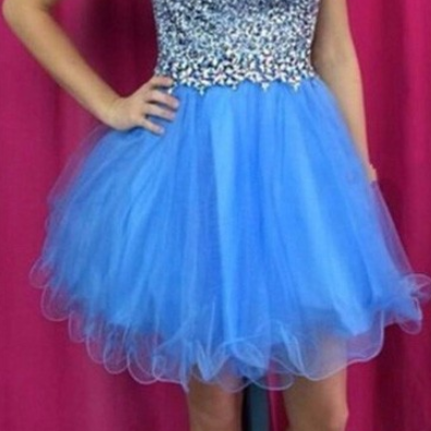 A Line Blue Homecoming Dresses Zipper-Up Sleeveless Crystal Beads Ruffle High necked Short Homecoming Dress