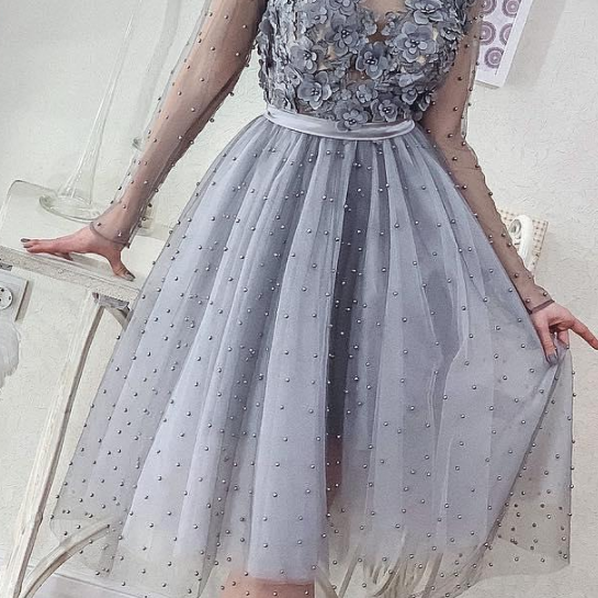 Short Silver Grey Pearls Homecoming Dresses Long Sleeve Lace Appliqued Beads Mini Cocktail Party Dresses Cheap Formal Prom Gowns