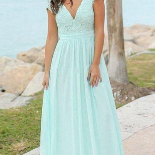 Beautiful Simple Mint Green V-neck Backless Cap Sleeves Chiffon Bridesmaid Dresses