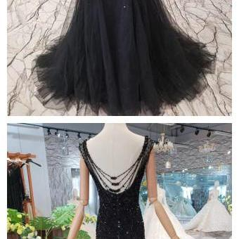 Black Mermaid Tulle Prom Dress with Sequins, Sparkly Sleeveless Evening Dresses