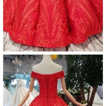 Red Off the Shoulder Puffy Prom Dress, Princess Dress with Lace Appliques Beads