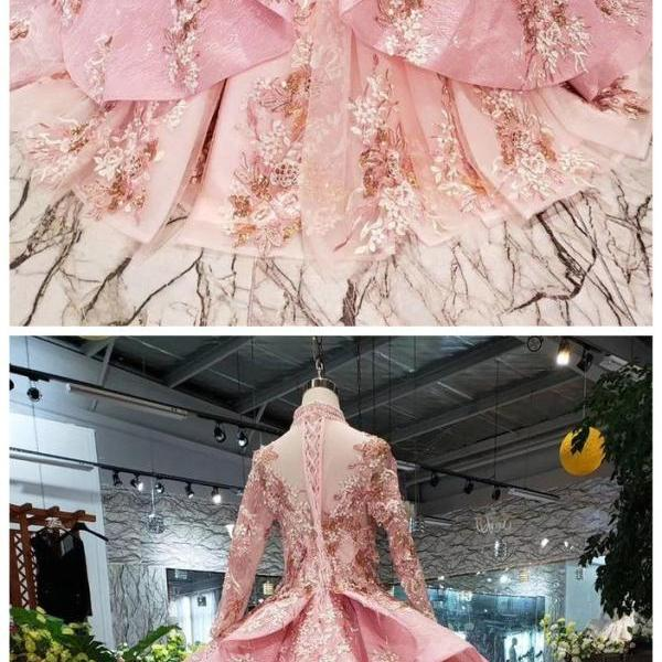Pink New Prom Dresses Long Sleeves Ball Gown With Applique&Beads Quinceanera Dress