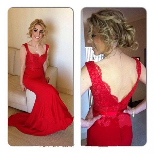RED LACE Mermaid Prom Dress,Fashion Couture,Long Prom Dress,Sexy Beaded Prom Dress,Custom Prom Dress