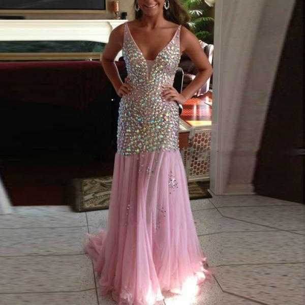 Pink Mermaid PROM DRESSES EVENING DRESSES v-neck party dresses