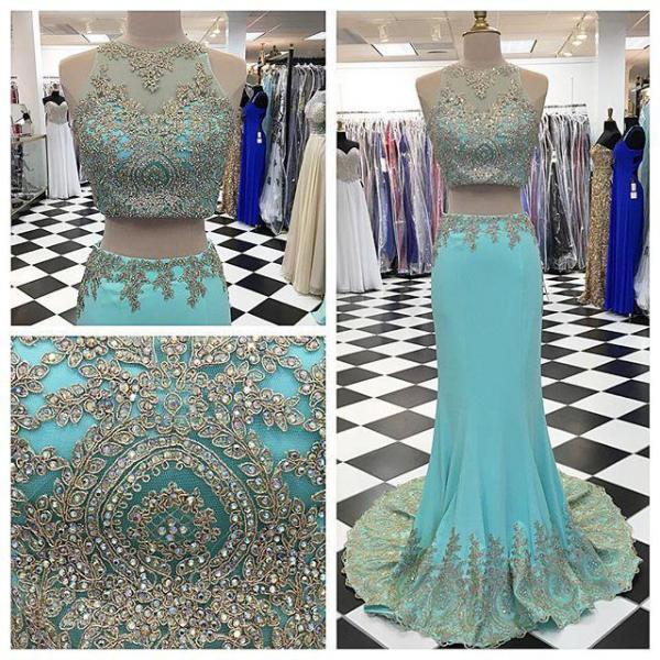 Two Pieces Sheath Prom Dresses, Floor-Length Evening Dresses,Prom Dresses