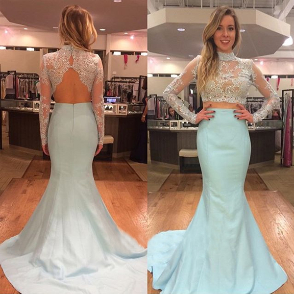 Fashion Mint High Neck Lace Prom Dresses Evening Gowns With Long Sleeves Sequin Beaded Mermaid Satin Hollow Back Cheap Evening Dress , Formal Gowns