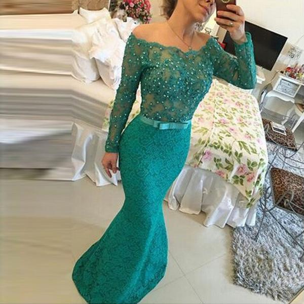 2017 Mermaid Prom Dress,Off the Shoulder green long Prom Dress Long sleeve Crystals Prom Dress,Pageant Party Gowns
