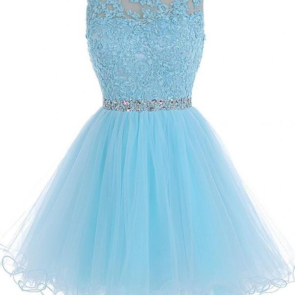 Handmade Lace Beading Prom Dresses, Short Prom Dresses, Prom Dresses 2016, Homecoming Dresses, Graduation Dresses, Blue Prom Dress