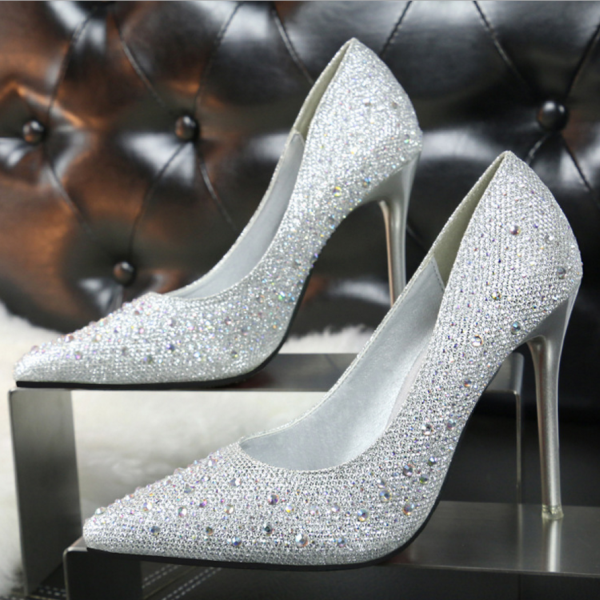 Pointed Toe Crystal and Rhinestone Embellished High Heel Pumps , Bridal Shoes , Wedding Stilettos