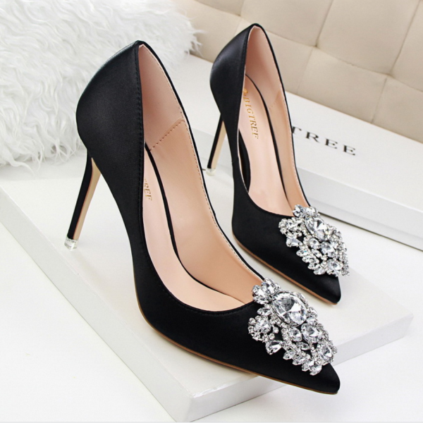 Pointed Toe High Heel Satin Pumps with Crystal Adornments, Prom Heel, Bridal Shoes
