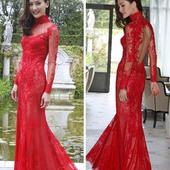 New Arrival High Neck Lace Mermaid Red Evening Dresses Long Sleeve Backless Sweep Train Wedding Party Gowns
