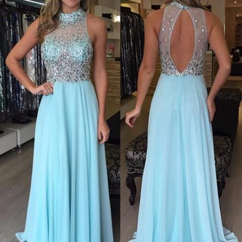 Delicate Open Back High Neck Prom Dresses 2017 New Sleeveless Beads Blue Chiffon Long Evening Gowns Custom