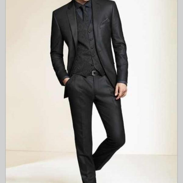 Wholesale 2017 Black Slim Fit Custom made mens tuxedo wedding suits for men Groom / Groomsmen Tuxedos mens wedding suits New Slim Fit Men Groom Suit Tuxedos Formal Groomsmen Wedding Suits Custom Made Jackets+Vest+Pants