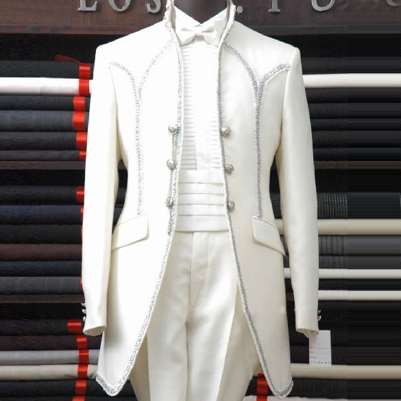 High Classy Elegant Palace White Mens Suits Wedding Groom Slim Fit Blazer Men Tuxedo Mens Suits With Pants Terno Masculino