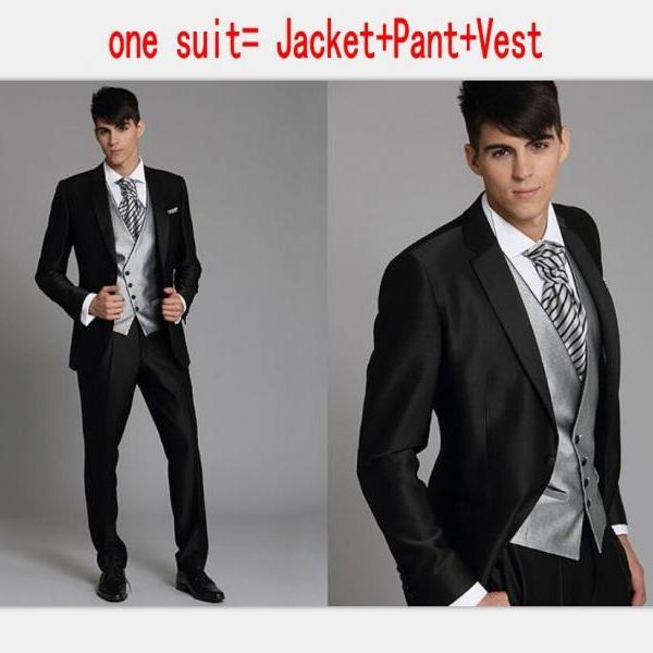 Korea-Satin Bright Silver With Black Brim Man Groom Tuxedos Wedding Suits Prom/Formal Suit (Jacket+Pants+Vest)Custom Made