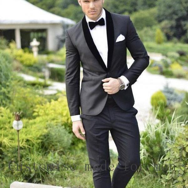 High Quality Custom Made Gray Silm Fit Wedding Suits For Men Groom Tuxedo Shawl Black Mens Suits Wedding Groom Jackets+Vest+Pants