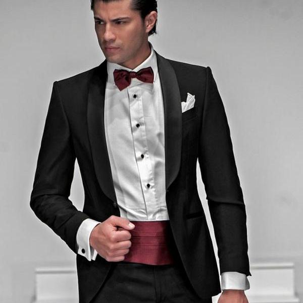 New Arrival Groomsmen Shawl Satin Lapel Groom Tuxedos Black Men Suits Wedding Best Man (Jacket+Pants+Waist sealing)