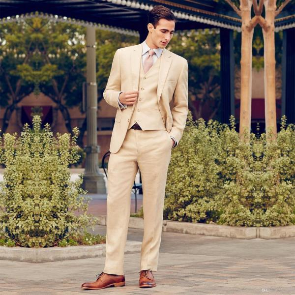 New Arrival Two Button Beige Groom Tuxedos Groomsmen Men's Wedding Prom Suits Bridegroom (Jacket+Pants+Vest)