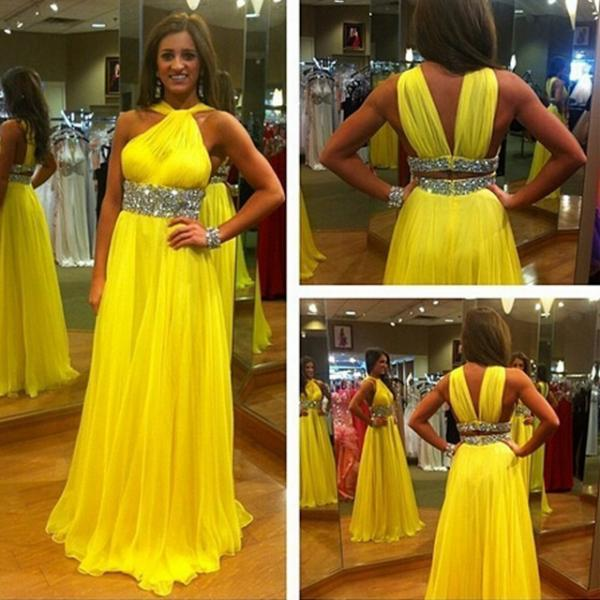 Yellow Sexy Halter Long Prom Dresses,Fashion Women Gowns,A-Line Evening Dresses 2017