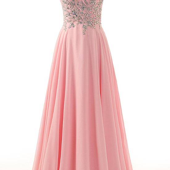 Sweetheart Off Shoulder Pleated Top Part with Beaded Lace Long Chiffon Formal Crystal Pink Prom Dresses Party Gown